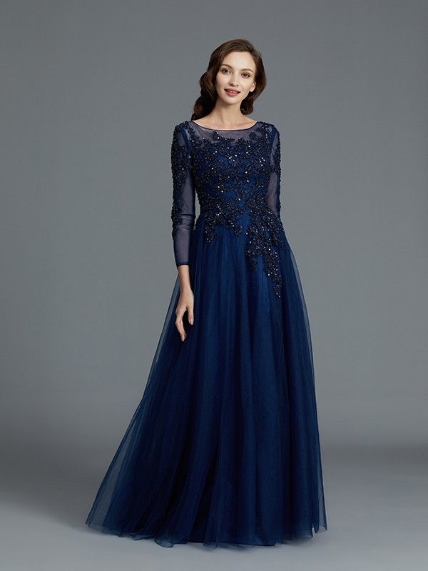 A-Line/Princess Long Sleeves Scoop Floor-Length Tulle Mother Dresses With Beading