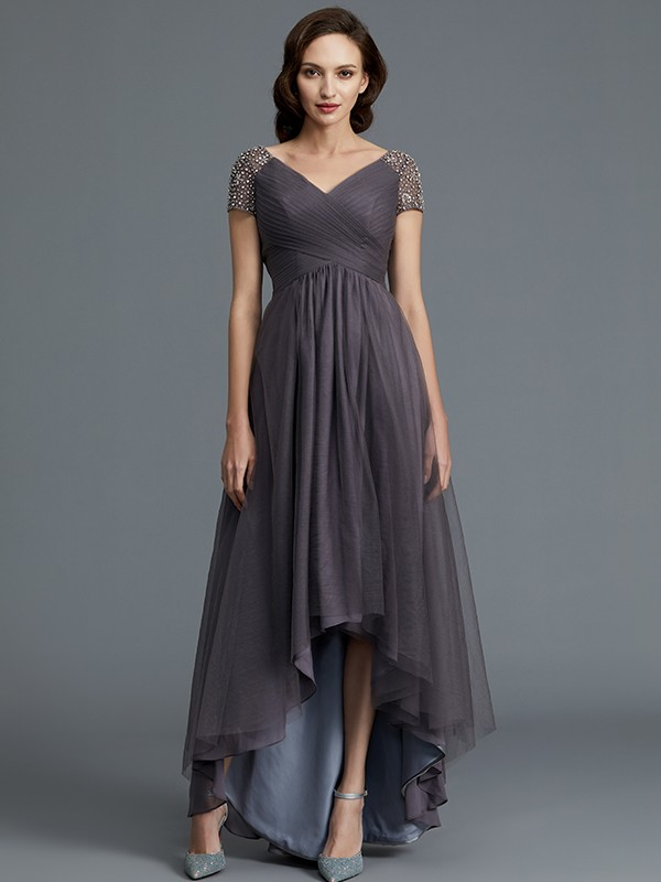 A-Line/Princess V-neck Short Sleeves Tulle Asymmetrical Mother of the Bride Dresses