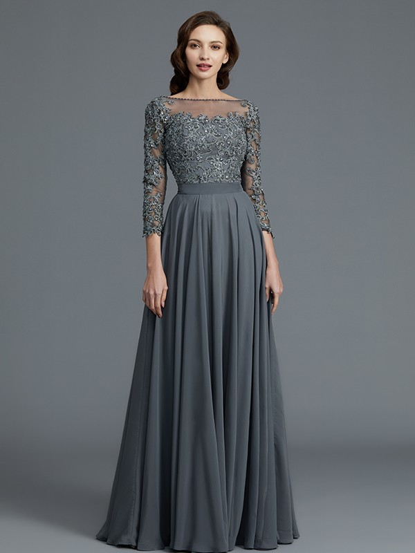 A-Line/Princess 3/4 Sleeves Bateau Floor-Length Chiffon Mother of the Bride Dresses