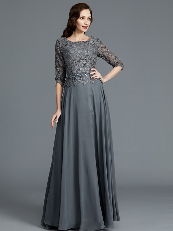 A-Line/Princess Scoop 1/2 Sleeves Chiffon Floor-Length Mother Dresses
