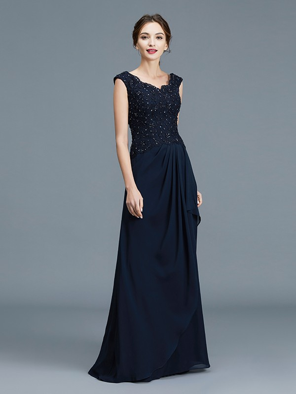 A-Line/Princess V-neck Ruffles Floor-Length Chiffon Sleeveless Mother of the Bride Dresses