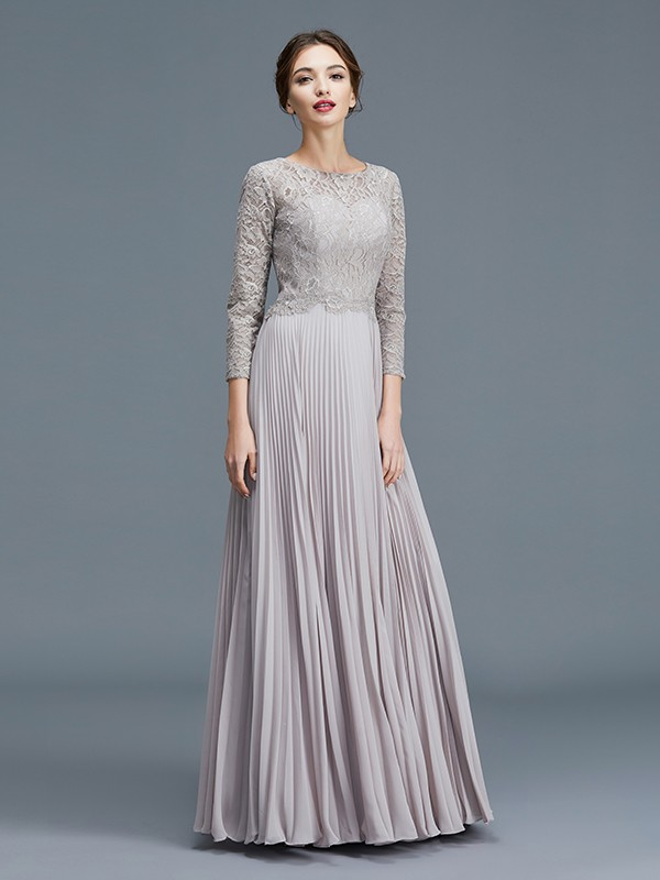 A-Line/Princess Scoop 3/4 Sleeves Lace Chiffon Floor-Length Mother of the Bride Dresses