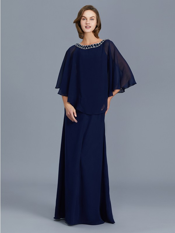 Sheath/Column Scoop Long Sleeves Chiffon Long Mother of the Bride Dresses With Beading