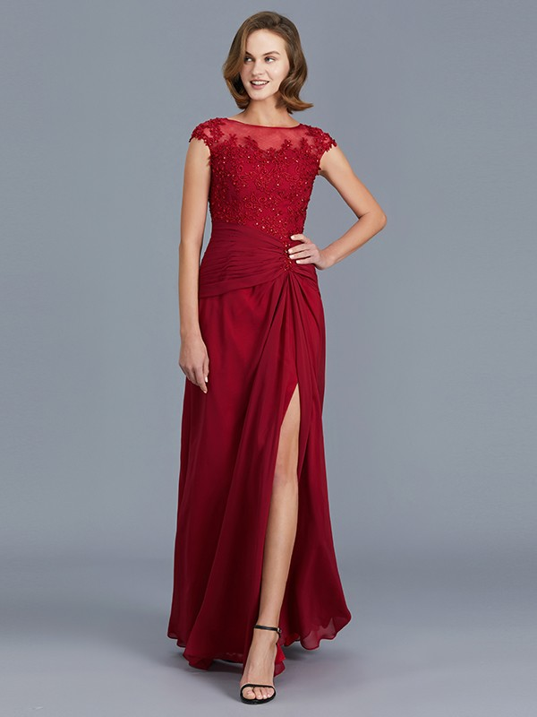 Sheath/Column Scoop Sleeveless Chiffon With Ruffles Long Mother of the Bride Dresses