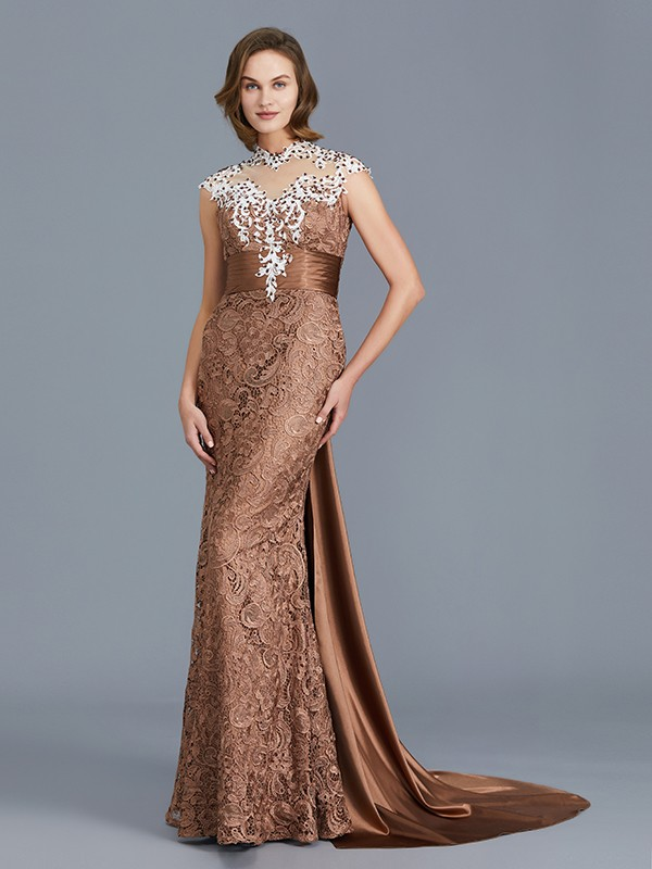 Mermaid Scoop Sleeveless Lace Floor-Length Mother of the Bride Dresses With Beading