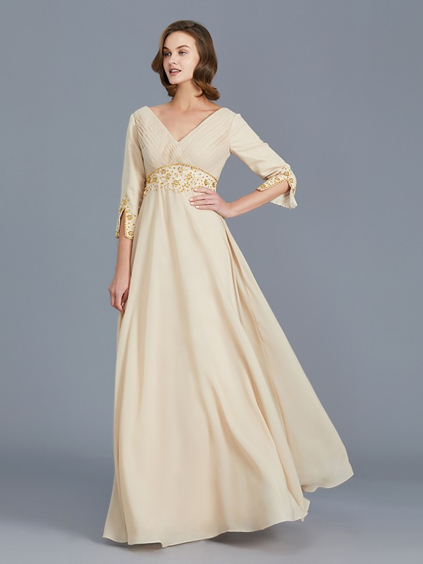 A-Line/Princess V-neck Chiffon Sleeveless Ruffles Floor-Length Mother of the Bride Dresses