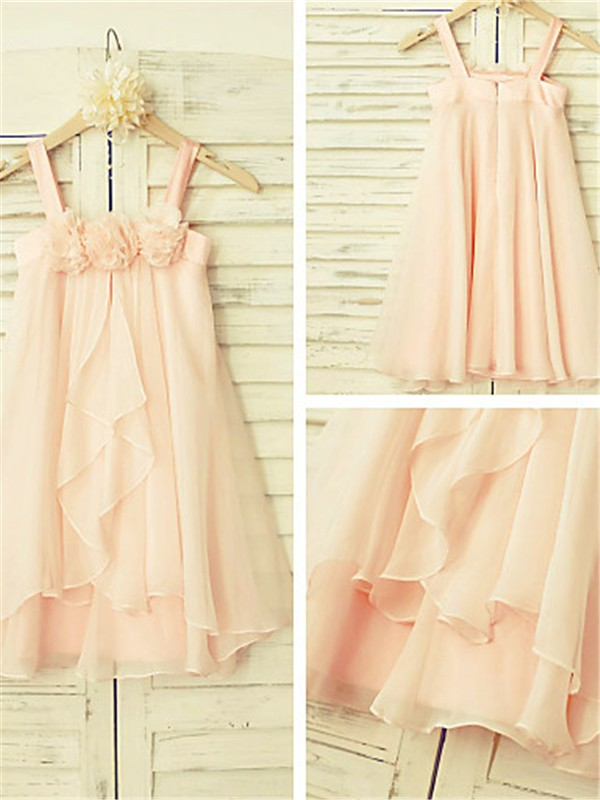 Chicregina A-Line/Princess Spaghetti Straps Sleeveless Tea-Length Chiffon Dress with Ruffles