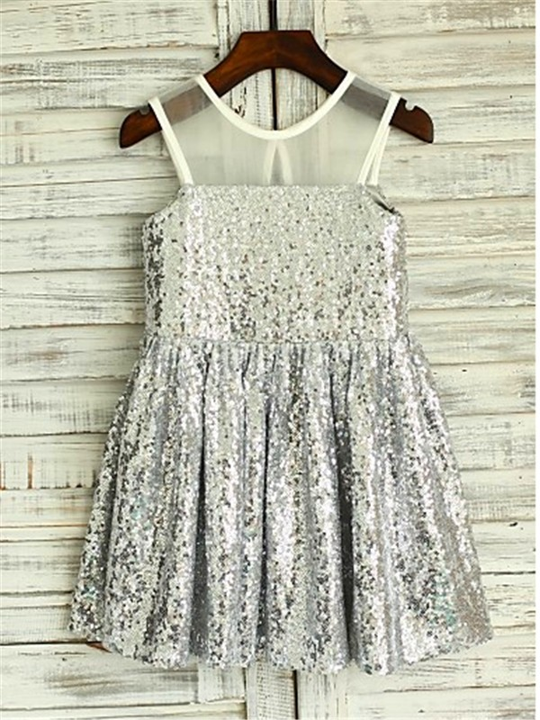Chicregina Long A-Line/Princess Scoop Sleevelesss Flower Girl Dress with Sequin