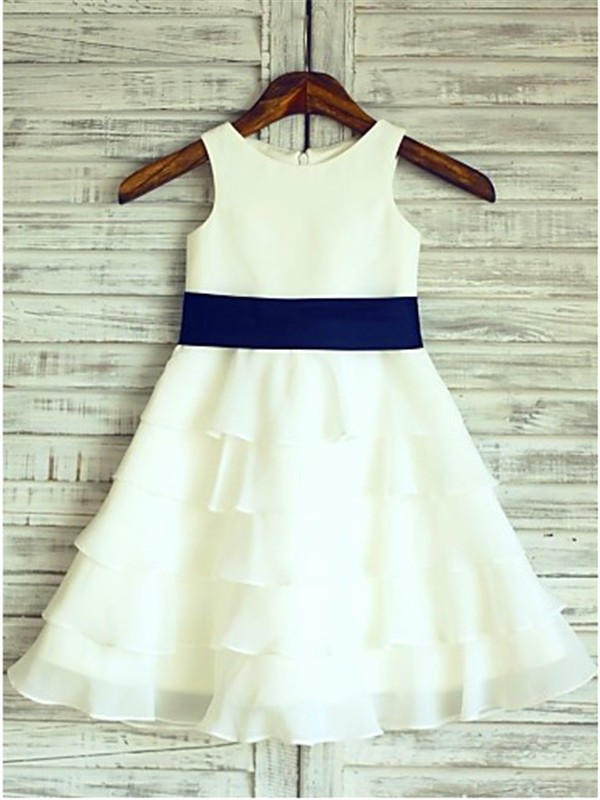Chicregina Long A-Line/Princess Sleeveless Scoop Chiffon Flower Girl Dress with Ruffles