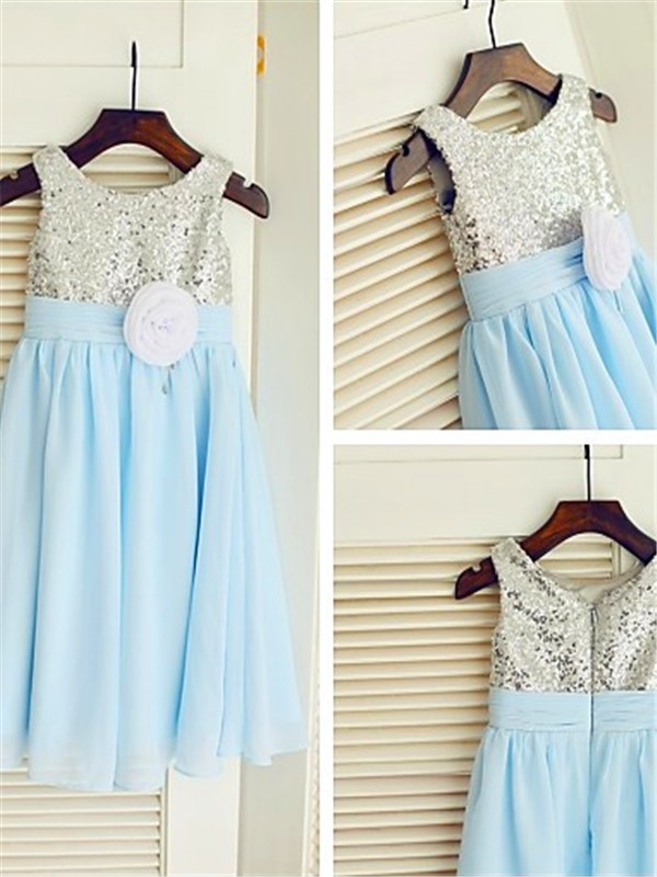 Chicregina Long A-Line/Princess Scoop Sleeveless Chiffon Flower Girl Dress with Sequin