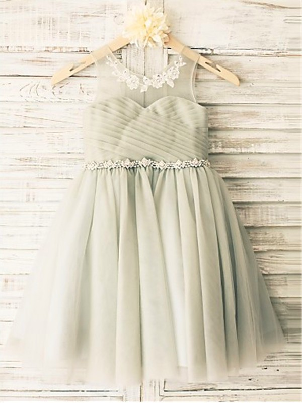Chicregina A-Line/Princess Scoop Sleeveless Beading Tea-Length Tulle Flower Girl Dress with Beading