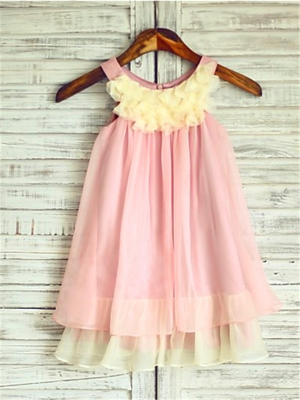 Chicregina A-Line/Princess Straps Sleeveless Tea-Length Chiffon Flower Girl Dress with Ruched