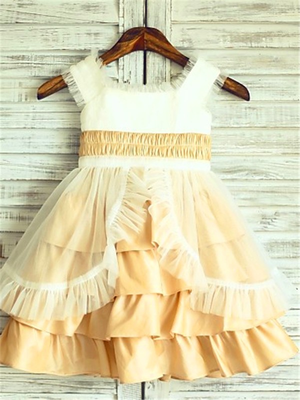 Chicregina A-Line/Princess Square Sleeveless Layers Tea-Length Satin Flower Girl Dress