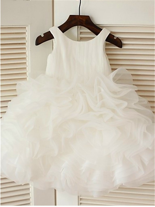 Ball Gown Scoop Sleeveless Layers Tea-Length Organza Flower Girl Dresses