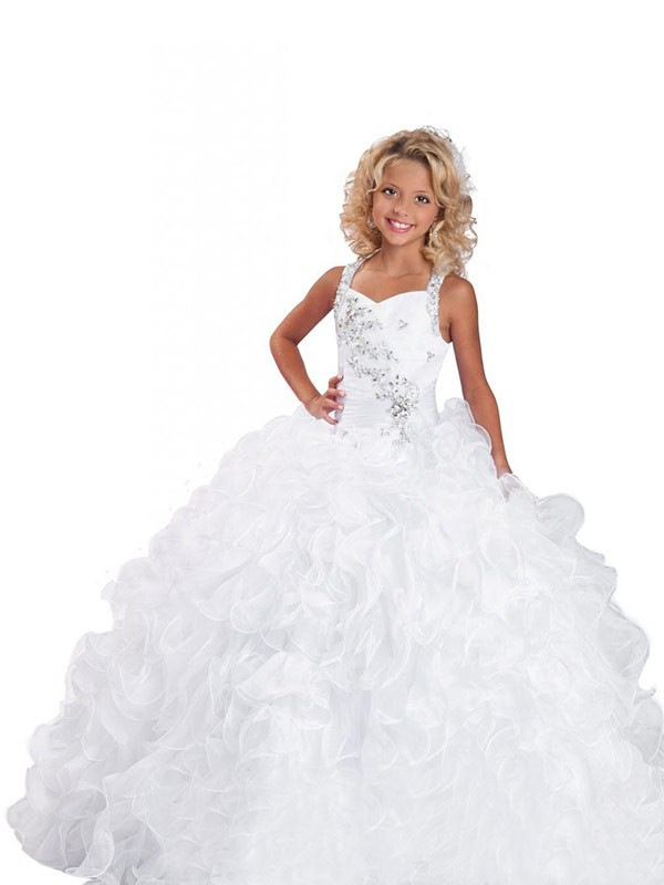 Ball Gown Straps Sleeveless Beading Long Organza Flower Girl Dresses