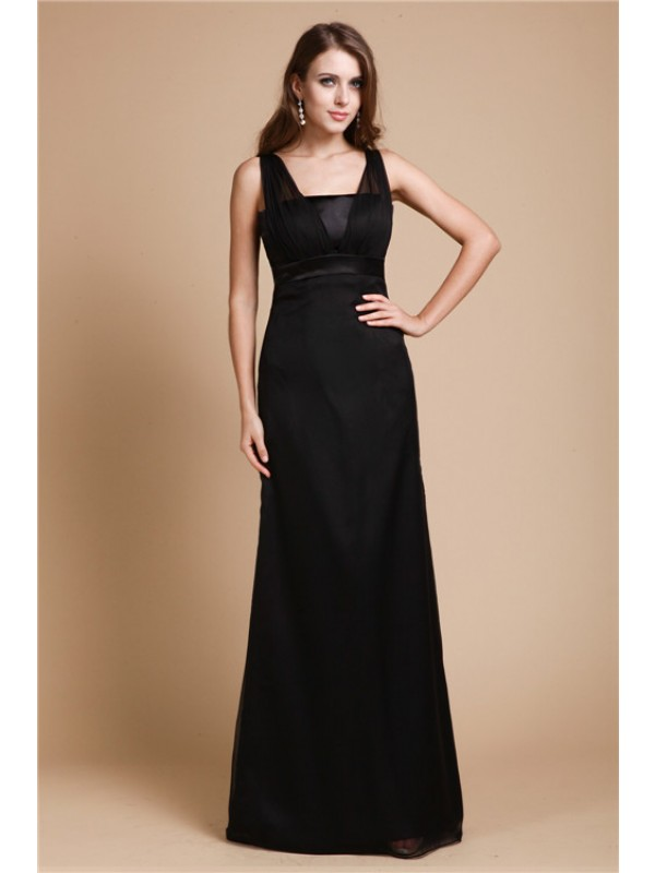 Sheath/Column Belt Sleeveless Long Chiffon Dresses