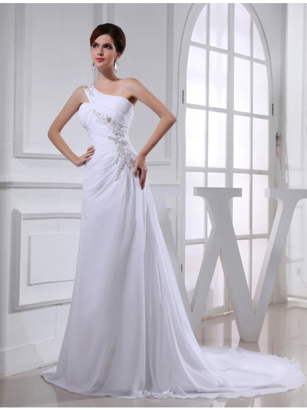 A-Line/Princess Beading One-shoulder Sleeveless Chiffon Applique Wedding Dresses