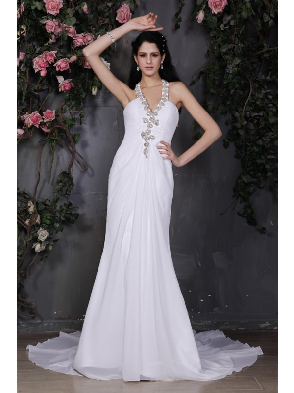 Sheath/Column Halter Sleeveless Beading Ruffles Long Chiffon Wedding Dresses