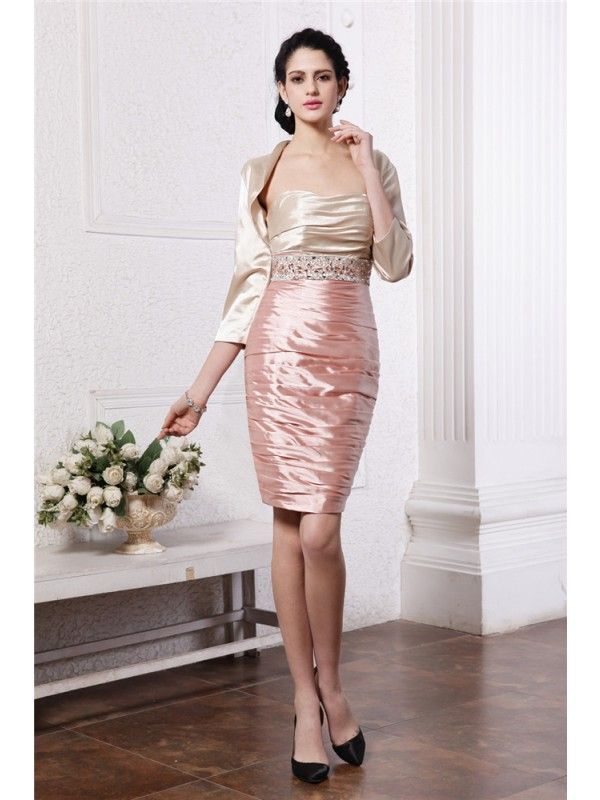 Sheath/Column Strapless Sleeveless Beading Short Elastic Woven Satin Mother of the Bride Dresses