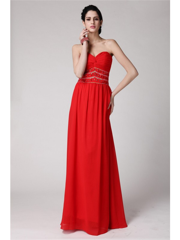 Sheath/Column Sweetheart Sleeveless Beading Pleats Long Chiffon Dresses