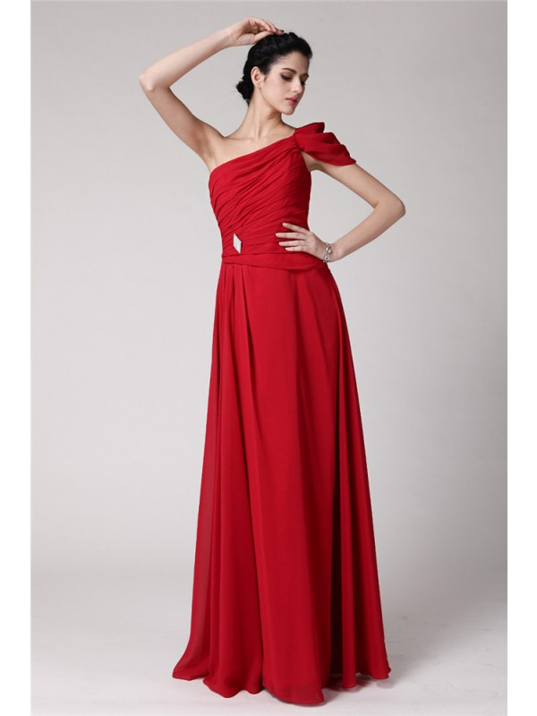 Sheath/Column One-Shoulder Sleeveless Pleats Long Chiffon Dresses