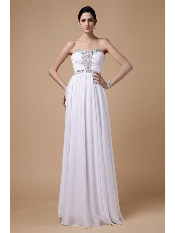 Sheath/Column Strapless Sleeveless Beading Pleats Long Chiffon Dresses