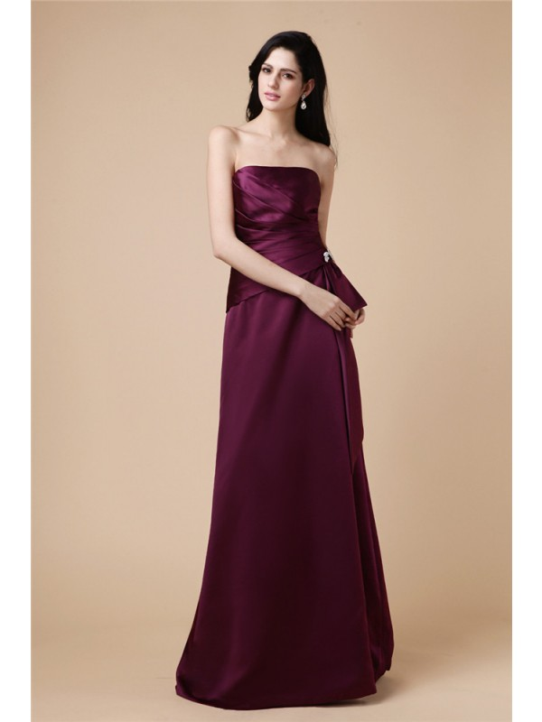 A-Line/Princess Strapless Sleeveless Beading Pleats Long Satin Dresses