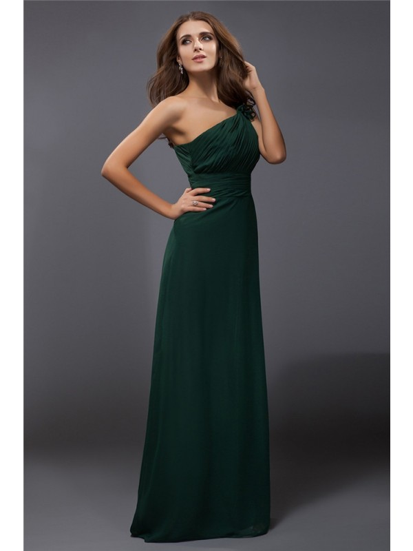 Sheath/Column One-Shoulder Ruffles Sleeveless Long Chiffon Dresses