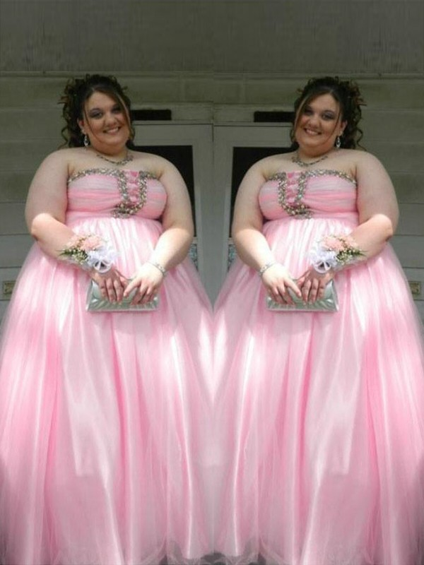 A-Line/Princess Strapless Satin Sleeveless Beading Floor-Length Plus Size Dresses