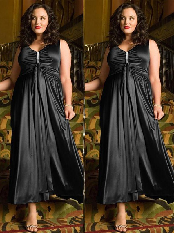 A-Line/Princess V-neck Sleeveless Ankle-Length Beading Elastic Woven Satin Plus Size Dresses