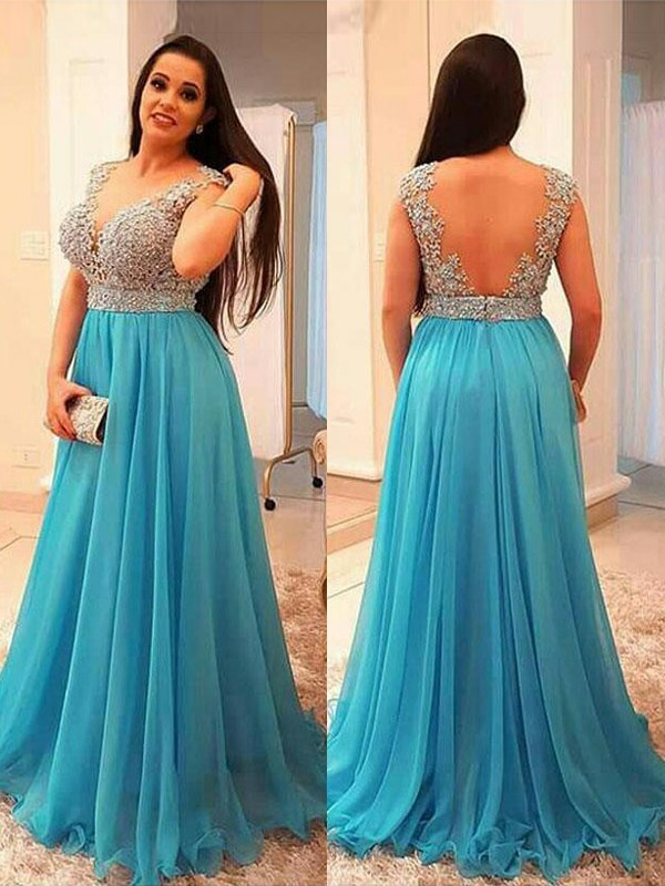 A-Line/Princess V-neck Sleeveless Floor-Length Beading Chiffon Plus Size Dresses