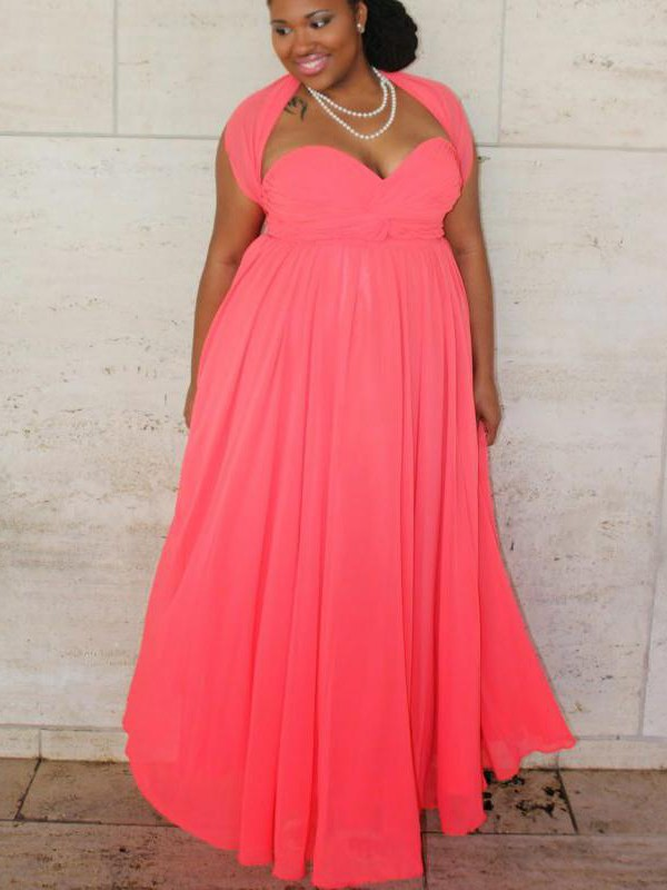 A-Line/Princess Sweetheart Ruched Floor-Length Sleeveless Chiffon Plus Size Dresses