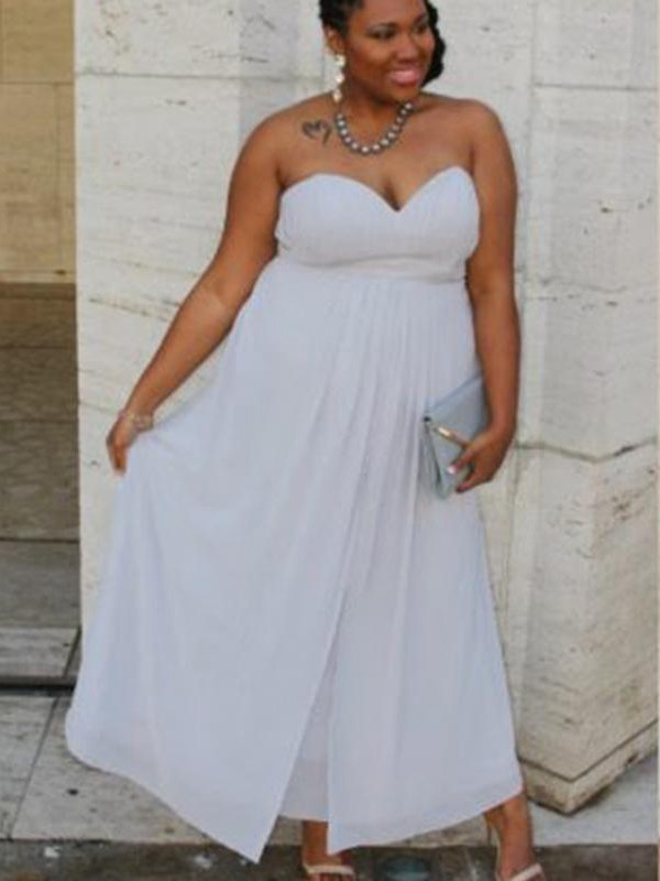 A-Line/Princess Sweetheart Chiffon Sleeveless Ruched Ankle-Length Plus Size Dresses