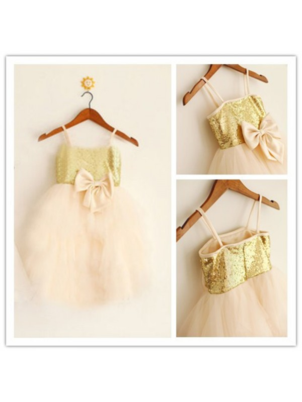 Tea-Length A-Line/Princess Spaghetti Straps Sleeveless Sequin Tulle Flower Girl Dresses