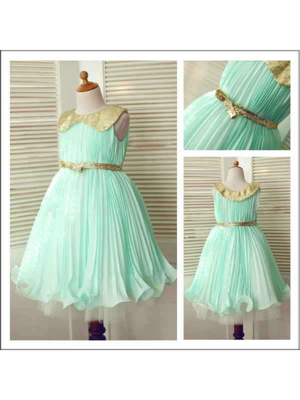 Tea-Length A-Line/Princess Scoop Sleeveless Sequin Chiffon Flower Girl Dresses