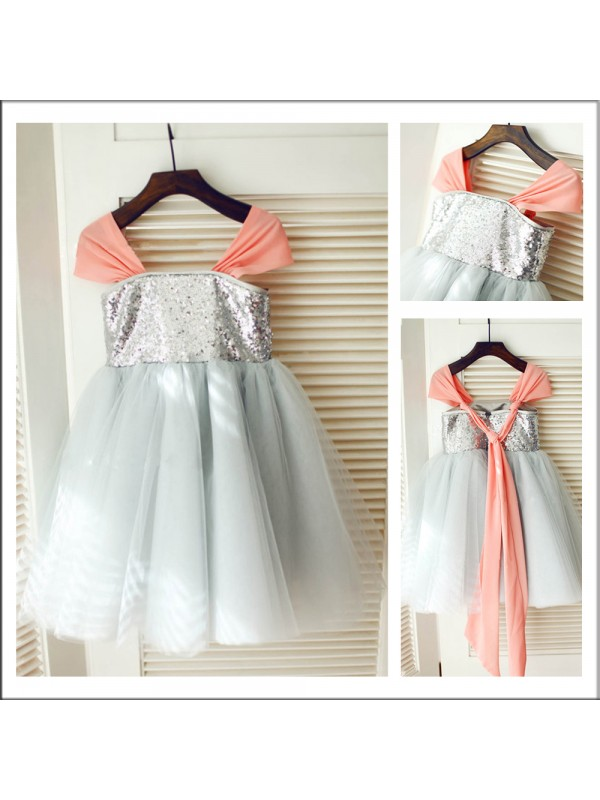 Tea-Length A-Line/Princess Straps Sleeveless Sequin Tulle Flower Girl Dresses