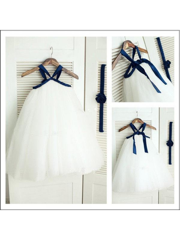 Tea-Length A-Line/Princess Spaghetti Straps Sleeveless Other Tulle Flower Girl Dresses