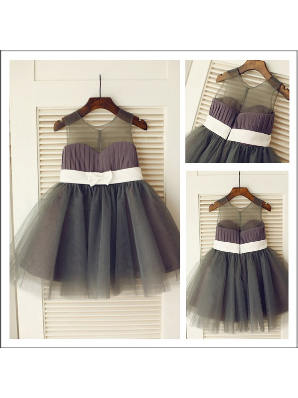 Knee-Length A-Line/Princess Scoop Sleeveless Sash/Ribbon/Belt Tulle Flower Girl Dresses