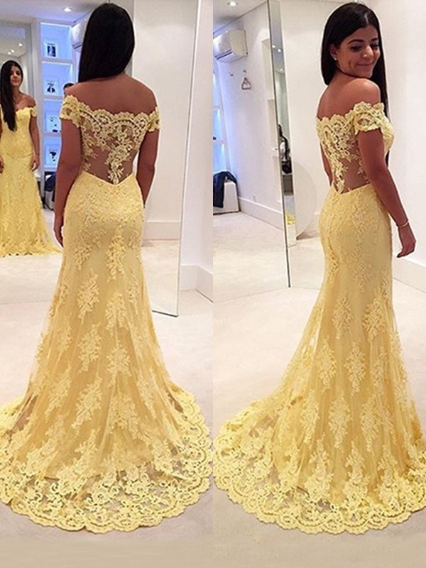 Trumpet/Mermaid Off-the-Shoulder Lace Sleeveless Sweep/Brush Train Dresses