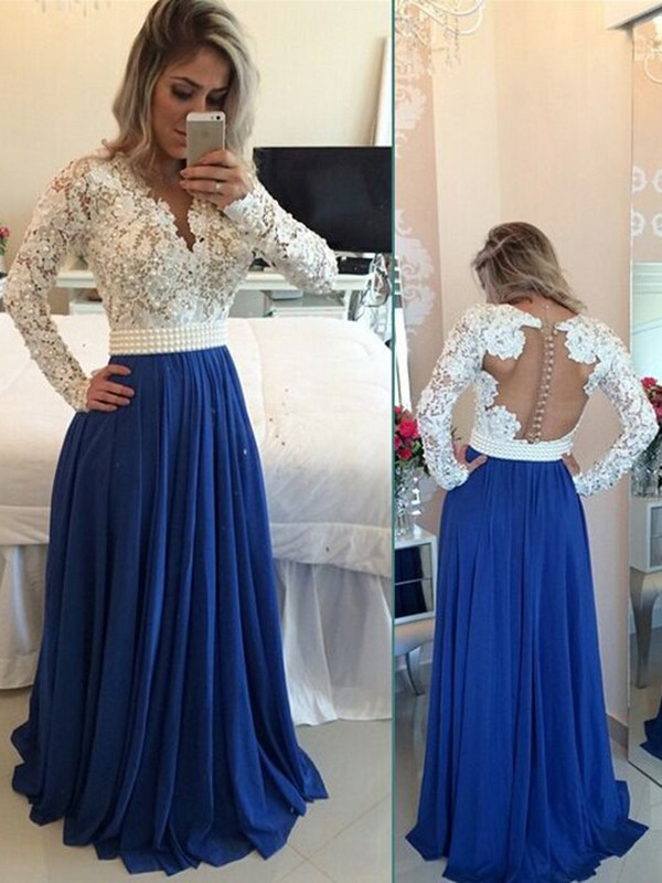 A-Line/Princess V-neck Floor-Length Long Sleeves Chiffon Dresses