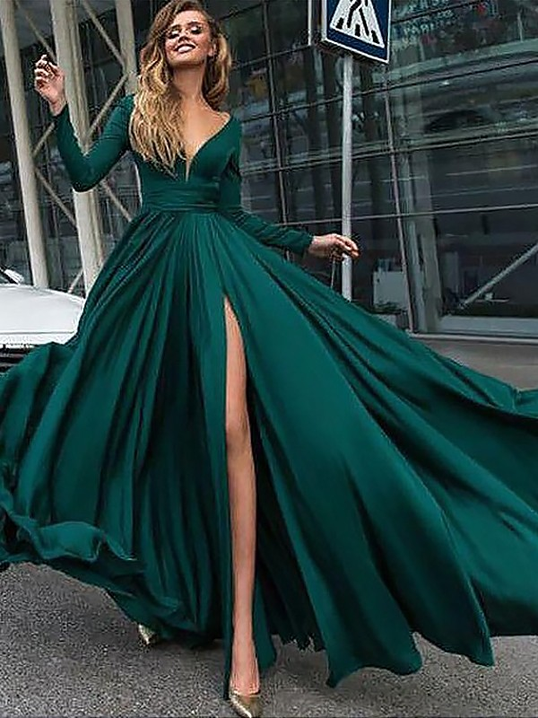 A-Line/Princess V-Neck Long Sleeves Floor-Length Ruffles Satin Chiffon Dresses