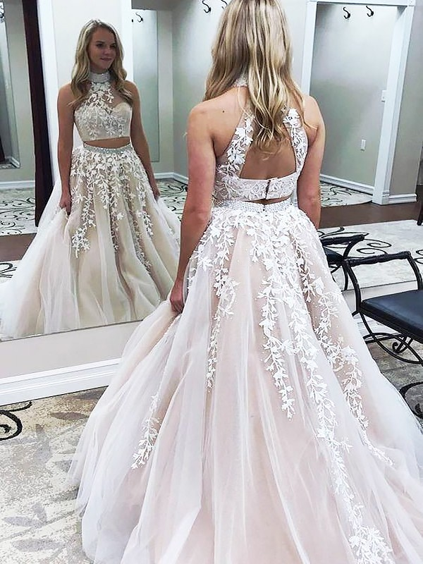 A-Line/Princess High Neck Sleeveless Tulle Long Two Piece Dresses With Applique