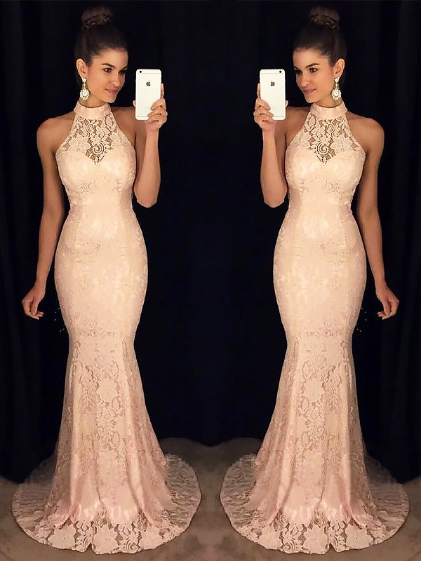 Trumpet/Mermaid High Neck Lace Sleeveless Long Dresses With Ruffles