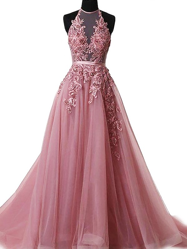 A-Line/Princess Halter Sleeveless Long Dresses With Applique