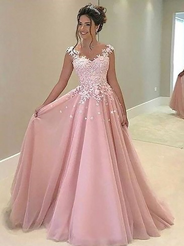 A-Line/Princess Sweetheart Sleeveless Tulle Floor-Length Dresses With Applique