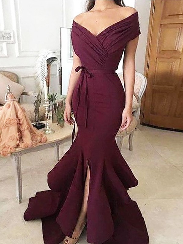 Trumpet/Mermaid Off-the-Shoulder Satin Sleeveless Floor-Length Dresses With Ruched
