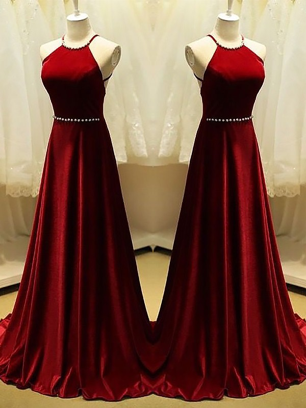 A-Line/Princess Halter Satin Sleeveless Sweep/Brush Train Dresses With Beading