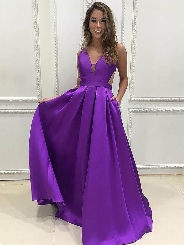 A-Line/Princess V-neck Sweep/Brush Train Sleeveless Ruffles Satin Dresses