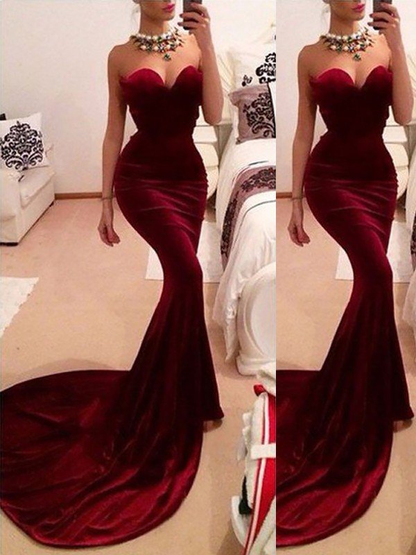 Burgundy Trumpet/Mermaid Sweetheart Sweep/Brush Train Sleeveless Ruffles Velvet Dresses