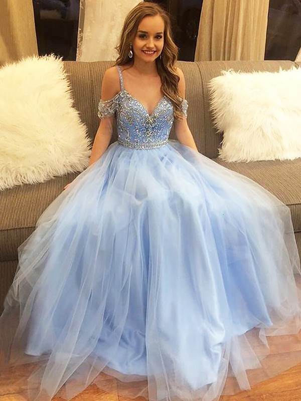A-Line/Princess Off-the-Shoulder Tulle Sleeveless Floor-Length Dresses With Beading